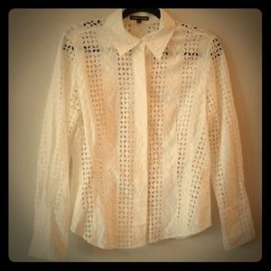 A'NUE LIGNE White Eyelet Button Up Shirt